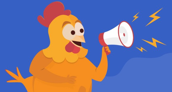 Chicken announcing sales on megaphone