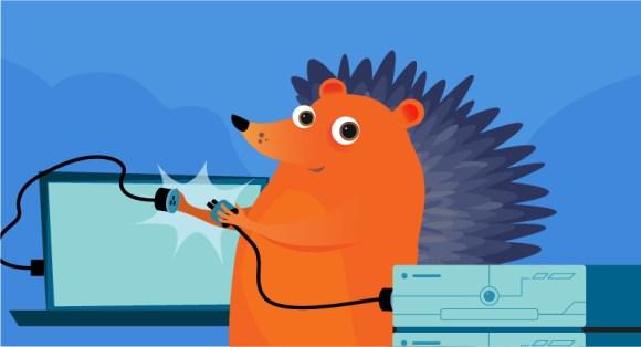 hedgehog unplugging computer