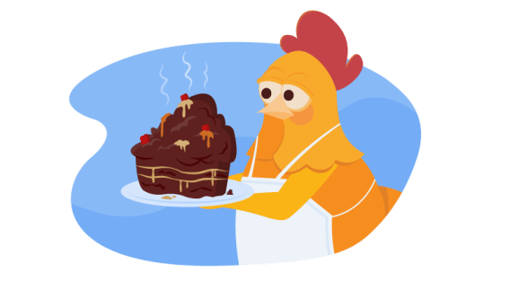 Chicken with disaster cake
