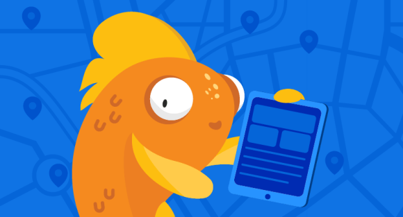 fish with online store on tablet