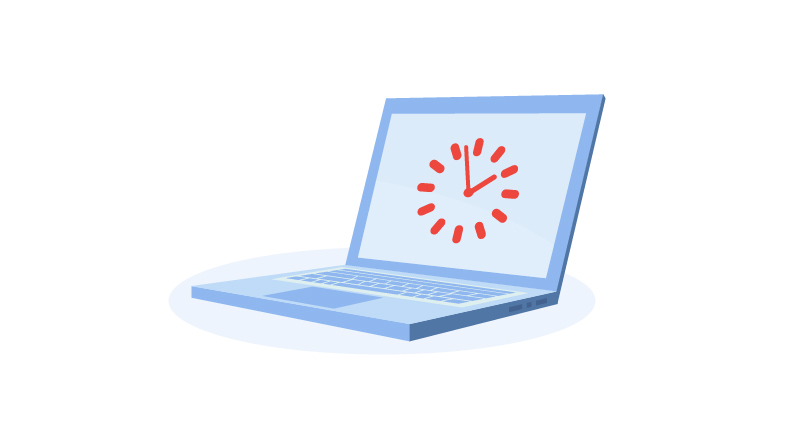 laptop with clock