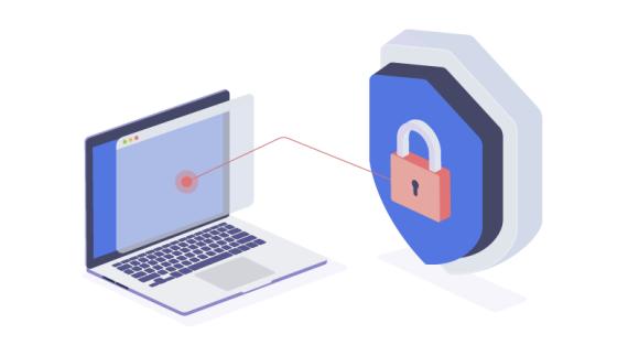 padlock security on laptop