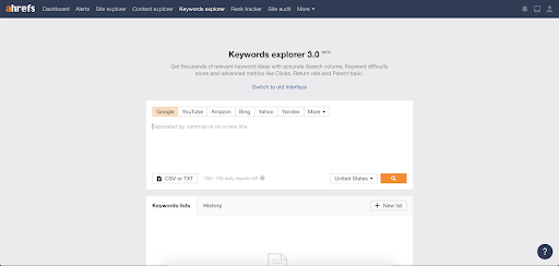 ahrefs keywords explorer
