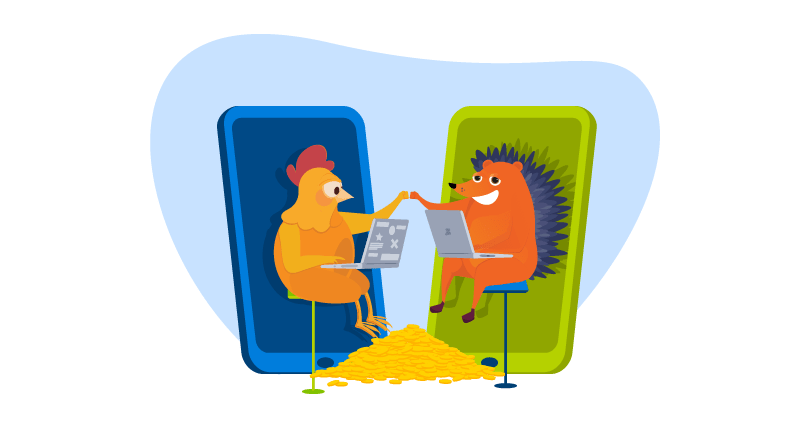 Chicken and hedgehog working together