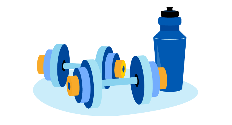 weights and water bottle