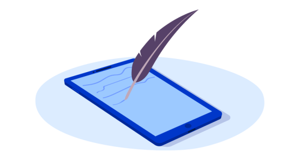 quill pen on tablet