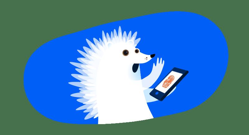 hedgehog ghost on tablet