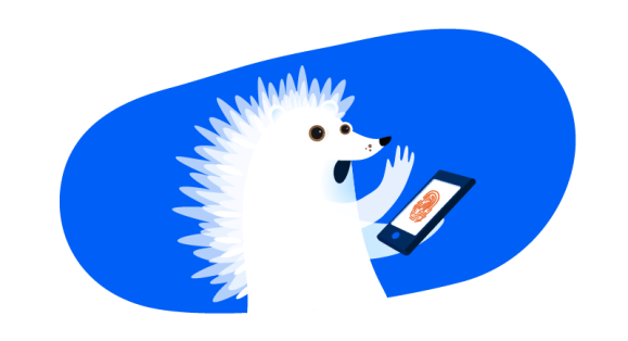 hedgehog ghost on tablet