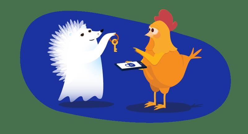 hedgehog ghost hands key to website to chicken