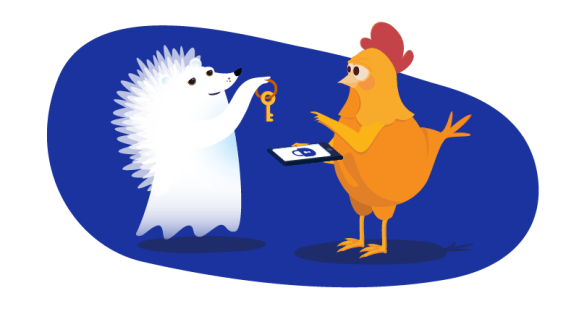 hedgehog ghost hands key to website to chicken