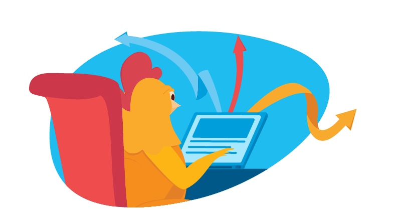 chicken working on content for an external website