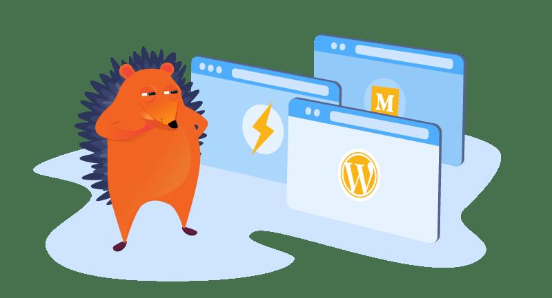 Hedgehog with variety of blogging platform screens