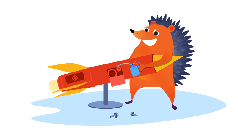Hedgehog repairing rocket