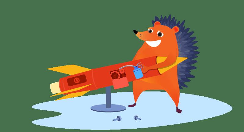 Hedgehog repairing rocket