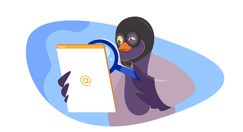 pigeon inspecting an email with magnifying glass