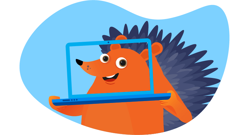 Hedgehog with his face on laptop