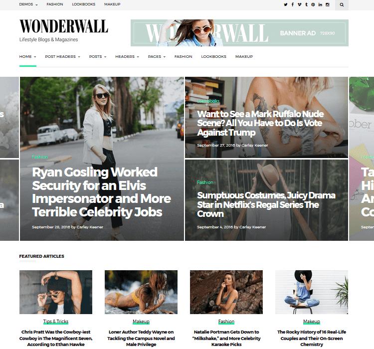 Wonderwall WordPress magazine theme