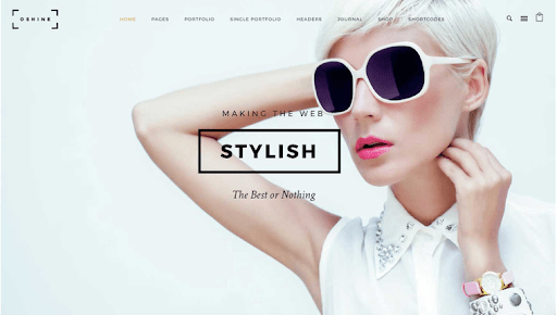 An example of the OShine photography theme featuring a photo of a woman in sunglasses