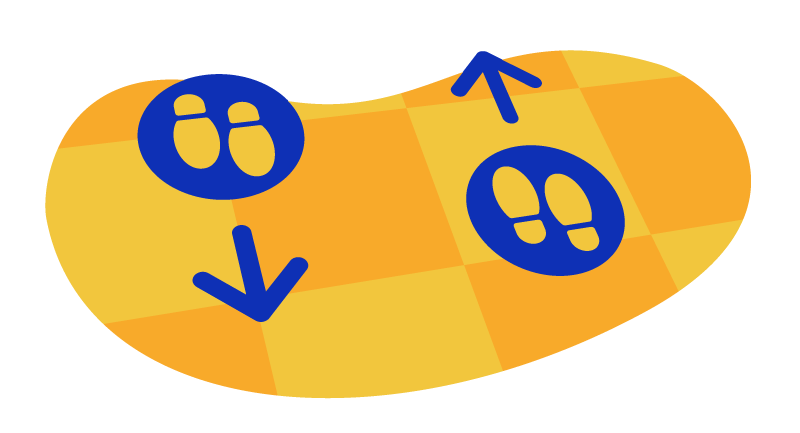 floor markers to help traffic flow inside a store