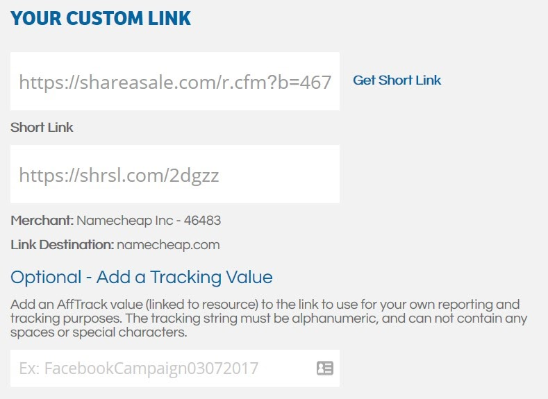 screenshot of a custom link creator
