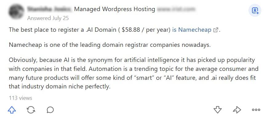 Screenshot of someone recommending Namecheap on Quora