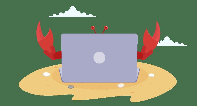 crab working on website