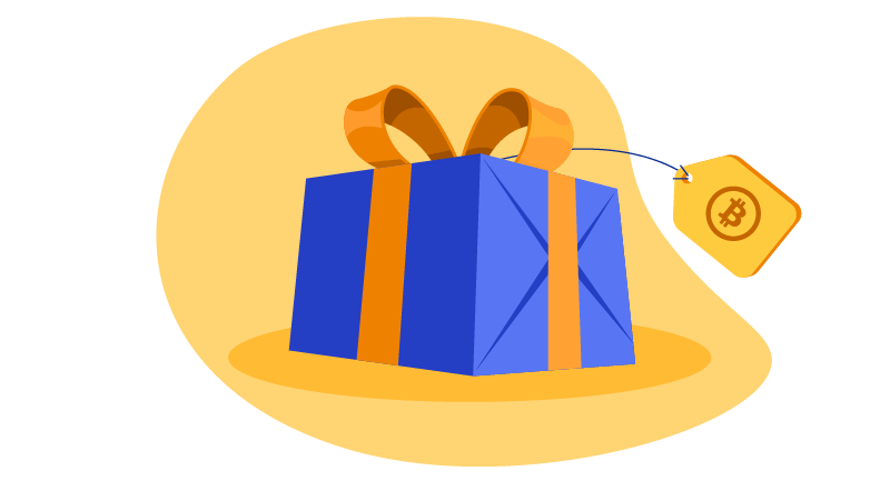 gift box with a bitcoin tag