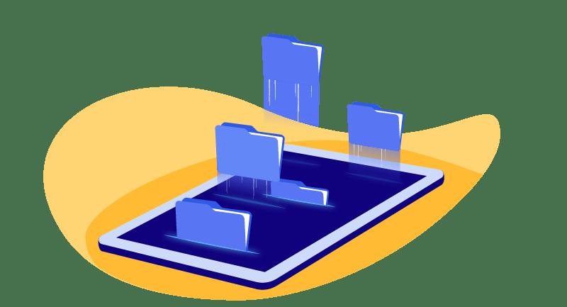 illustration of folders on tablet
