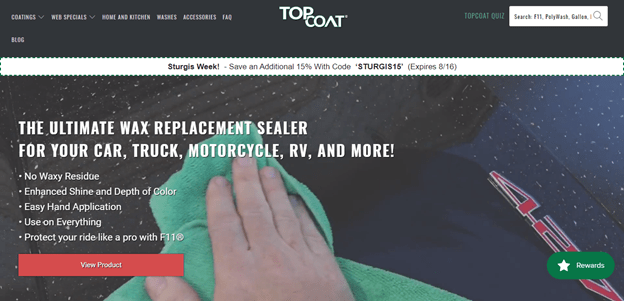 screenshot of topcoat.store