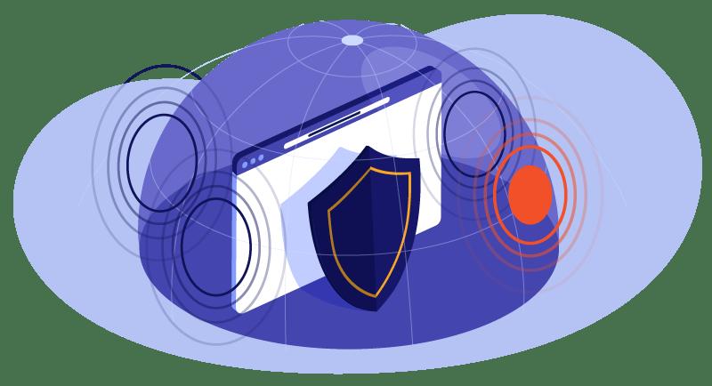 A shield over a website