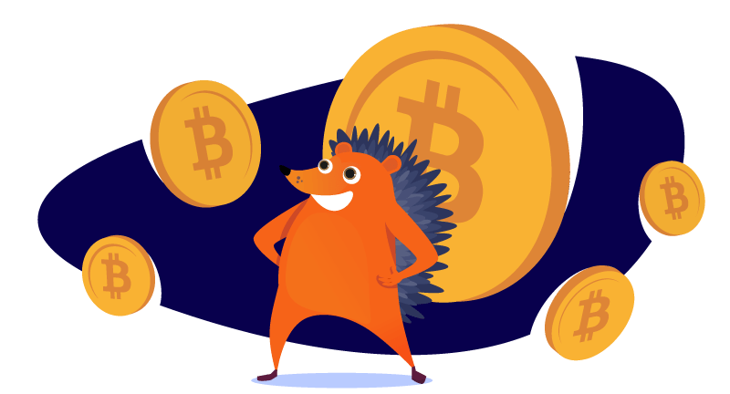 Hedgehog surrounded with bitcoins