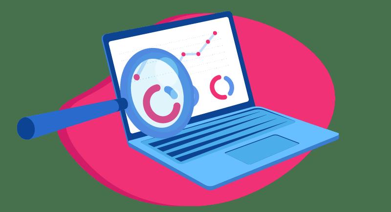 magnifying glass on data illustration