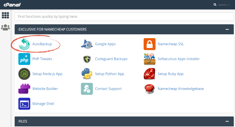 screenshot of cPanel with AutoBackup