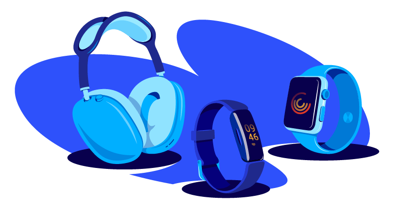 smart watches, fitness devices, and headphones