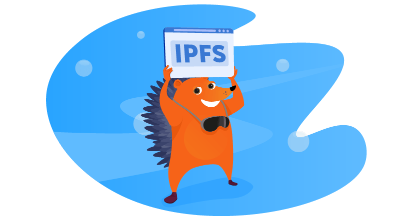 hedgehog holding up a sign for IPFS