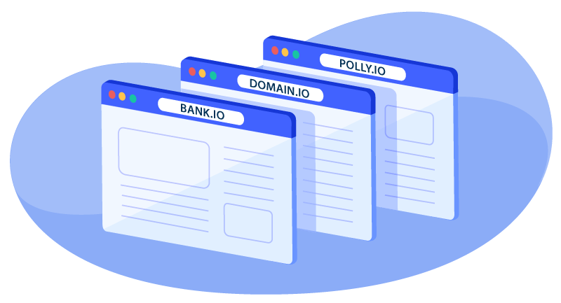 different .io domains