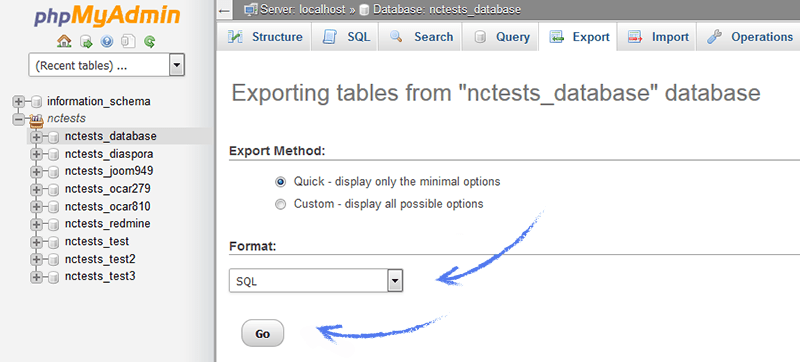 Exporting tables screenshot