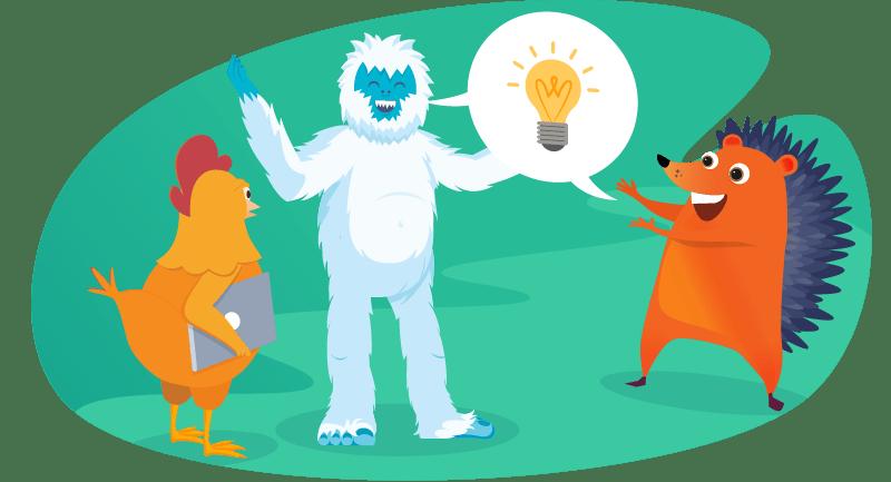 Yeti, hedgehog and chicken at a WordPress meetup