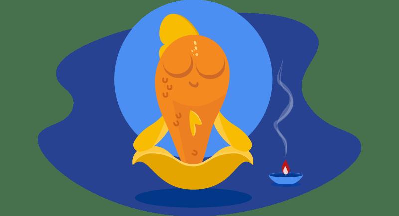 fish meditating with incense