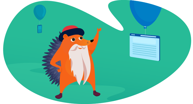Gutenberg hedgehog celebrating WordPress birthday