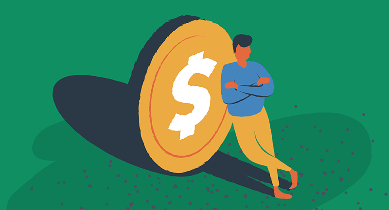 A man leaning against a coin