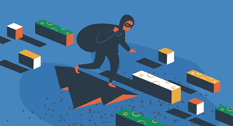 Hacker surfing the internet