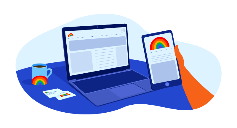website and mobile device with rainbow
