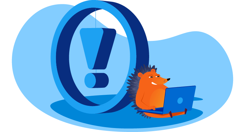 hedgehog working on laptop with big warning symbol