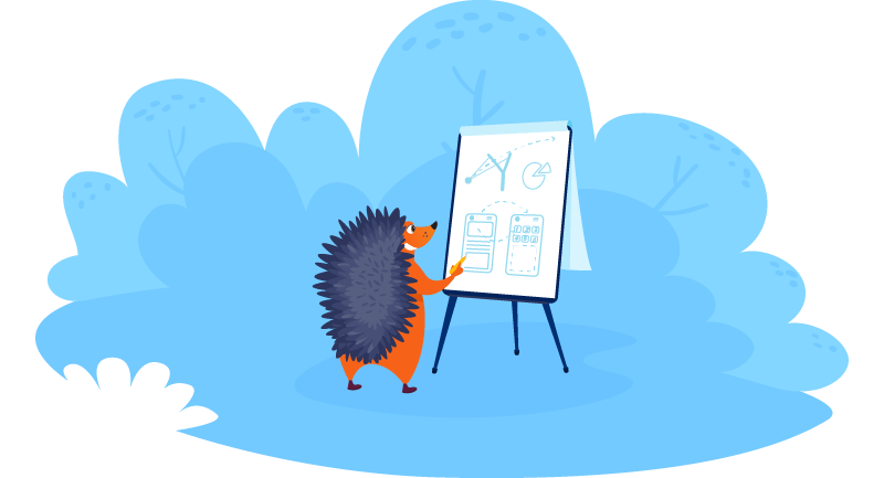 Hedgehog reviewing product designs