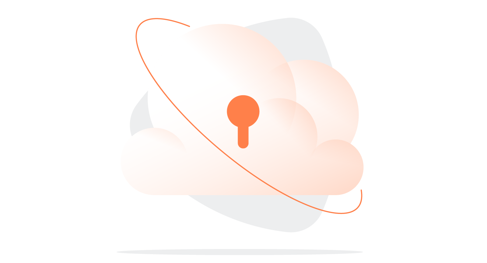 illustration of cloud with keyhole to suggest VPN