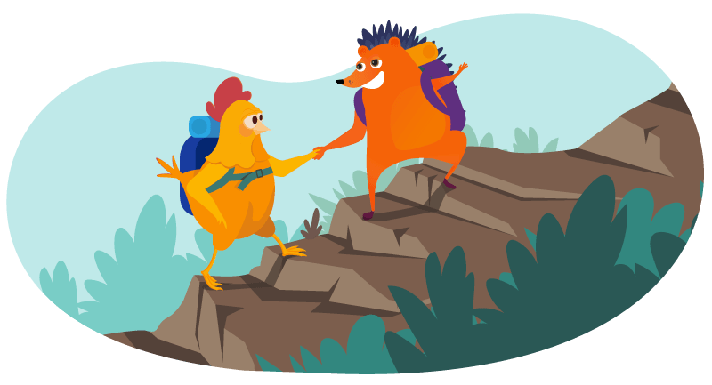 Hedgehog giving chicken a hand as they climb a mountain