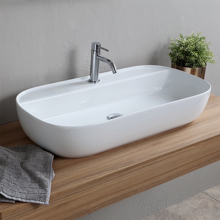 scarabeo 1801 one hole bathroom sink
