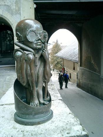 Sculpture in front of H.R. Giger Museum, in Gr...