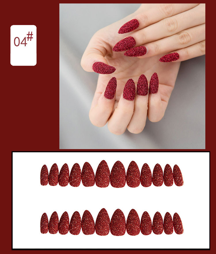 12 pieces boxed detachable nail art short paragraph glitter fake nails
